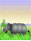 Rhino in the jungle — Stock Vector