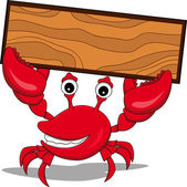 Crab with board — Stock Vector