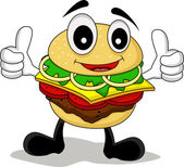 Funny cartoon chef burger — Stock Vector