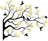 Tree silhouette with bird flying — Cтоковый вектор