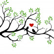 Tree silhouette with bird love couple — Stock vektor