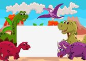 Dinosaur cartoon with blank sign — Cтоковый вектор