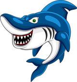 Cartone animato squalo felice — Vettoriale Stock