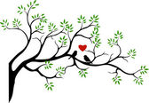 Tree silhouette with bird love couple — Cтоковый вектор