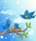 Blue bird family with snow background — Stock Vector