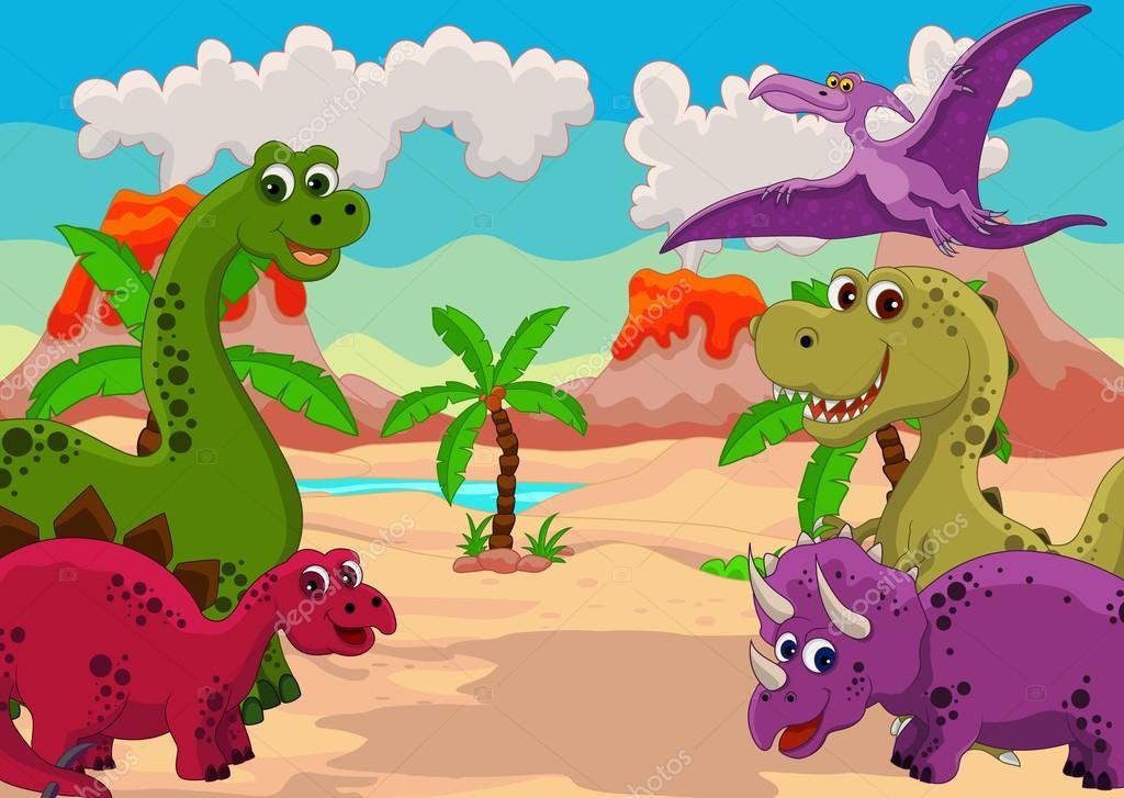 Dibujos animados de dinosaurios — Vector de stock © starlight789