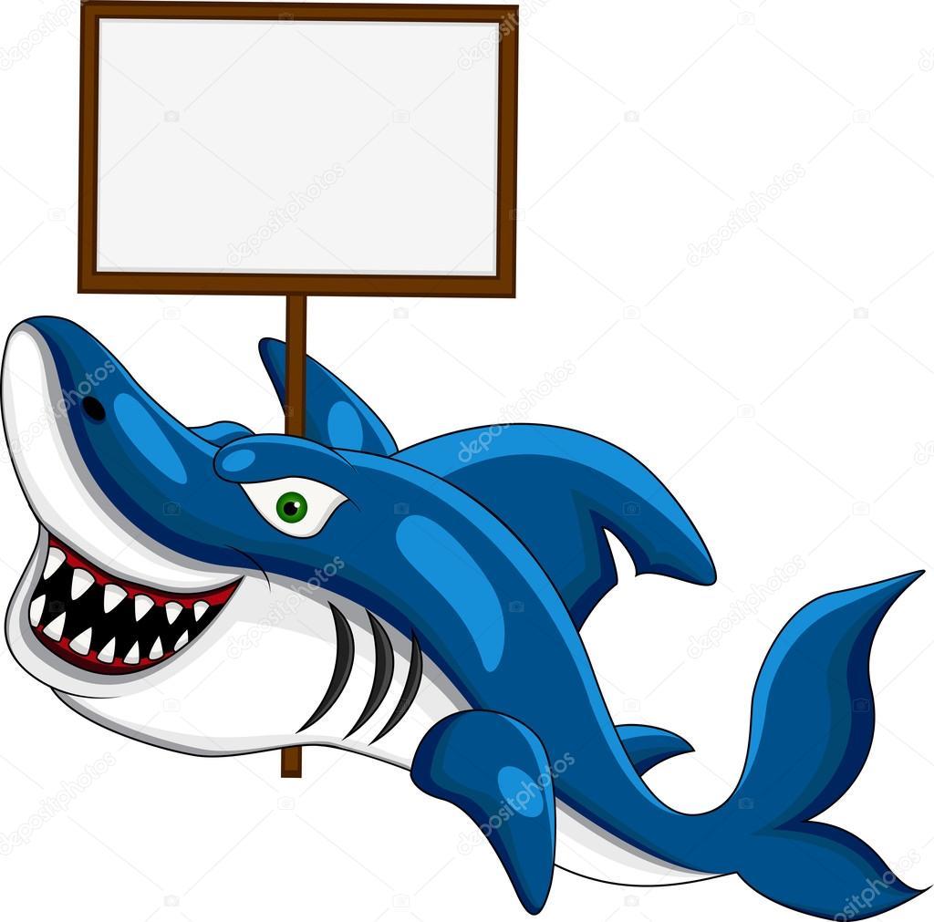 Cartone animato squalo sorridente con il segno bianco
