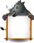 Funny rhino with board — Stock Photo