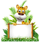 Tiger cartoon with board — Stock Photo