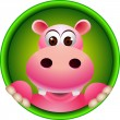 Cute hippopotamus head cartoon — Stock Vector