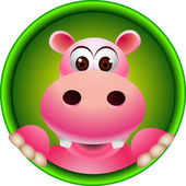 Cute hippopotamus head cartoon — Vettoriale Stock
