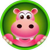 Schattig nijlpaard hoofd cartoon — Stockvector