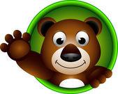 Söt brun björn cartoon — Stockvektor
