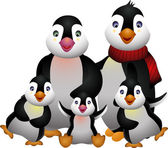 Happy pinguin family — Vector de stock