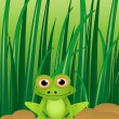 Illustration of a cute cartoon frog with grass background — Stock Vector