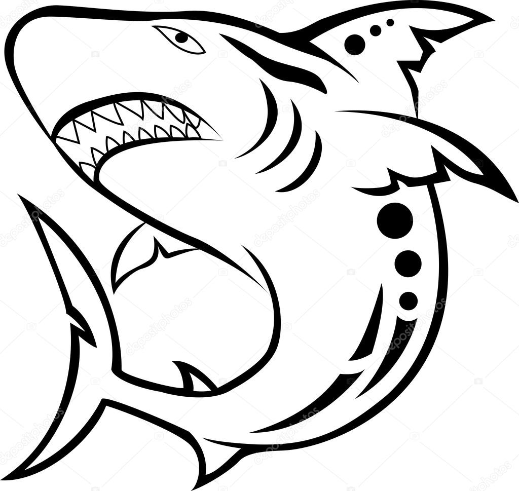 Angry shark tribal tattoo — Stock Vector #12742653