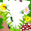 Royalty-Free Stock Vector Image: Insects cartoon and mashroom in the garden
