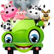 Royalty-Free Stock Vector Image: Cute animal on green car