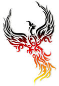 Tattoo Mythical phoenix bird — Cтоковый вектор