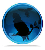 Macaw silhouette in blue icon glass — Stock Vector