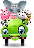 Söta djur på grön bil — Stockvektor