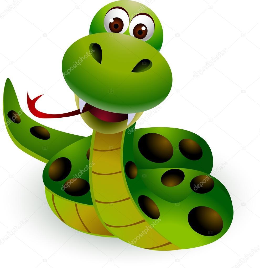 Caricatura lindo serpiente verde — vector de stock