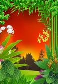 Beauty tropical forest background — Vector de stock