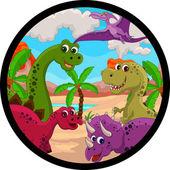 Funny dinosaur cartoon set — Stock Vector