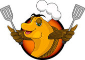 Funny cartoon cook fish — Vector de stock