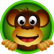 Stock Vector: Cute monkey head cartoon