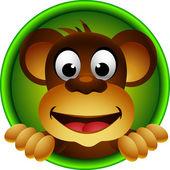 Schattig aap hoofd cartoon — Stockvector