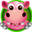 Stock Vector: Cute baby hippo head cartoon
