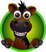 Cute horse head cartoon — Stock Vector