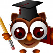 Cute owl with pencil and book — Stock Vector