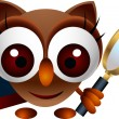 Cute owl with book and magnifying glass — Stock Vector