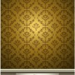 Seamless Damask wallpaper with gold color — Stock Vector