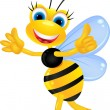 Bee cartoon thumb up - Stock Vector