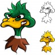 Angry duck head cartoon - Stock Vector