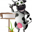 Cute cow cartoon with blank board — Stock Vector #13832240