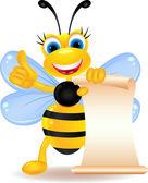 Happy bee cartoon with blank sign — Stock Vector