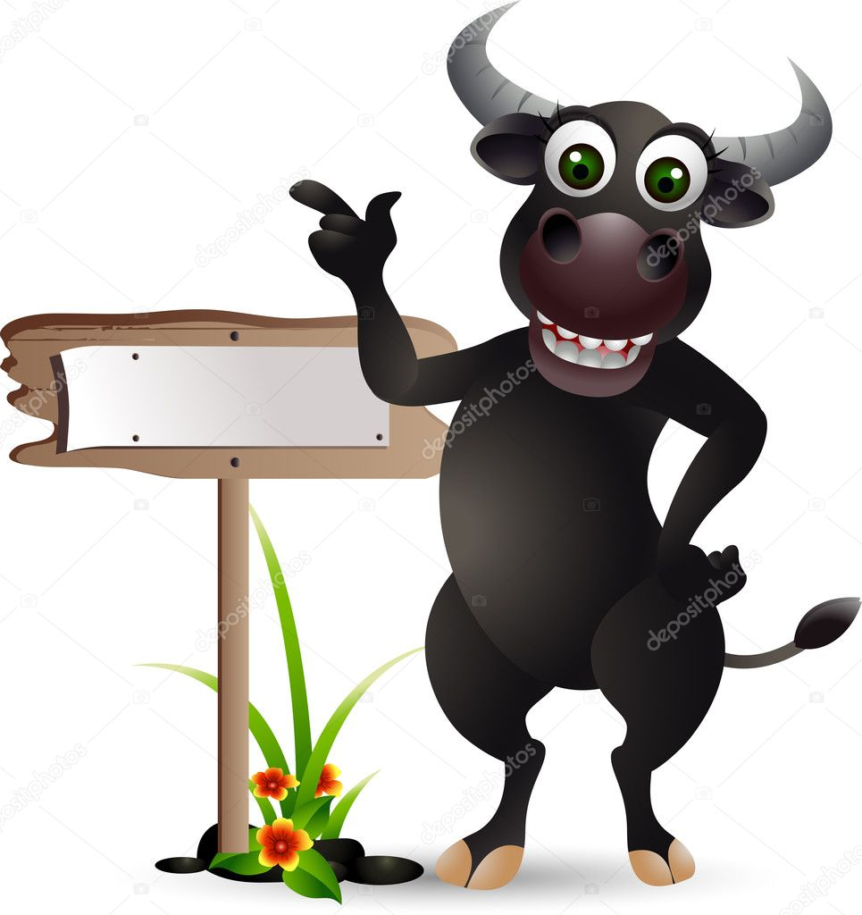 Buffalo cartoon with blank board — Stock Vector ...