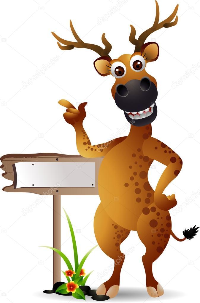 Funny deer cartoon with blank board — Stock Vector ...