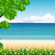 Beauty tropical forest with beach background — Stock vektor