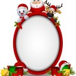 Santa claus ,deer and snowman with blank sign - Stock Vector