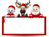 Santa claus ,deer and snowman with blank sign — Stock Vector