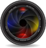Camera lens with shutter — Stock Vector