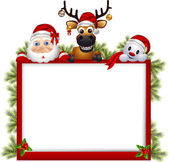 Vector illustration of santa claus ,deer and snowman with blank sign — Stock Vector