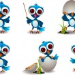 Cute blue bird cartoon set - Image vectorielle