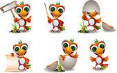 かわいいコンゴウインコ鳥漫画セット — ストックベクタ