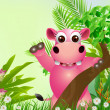 Cute hippo cartoon smiling with tropical forest background — Stock Vector